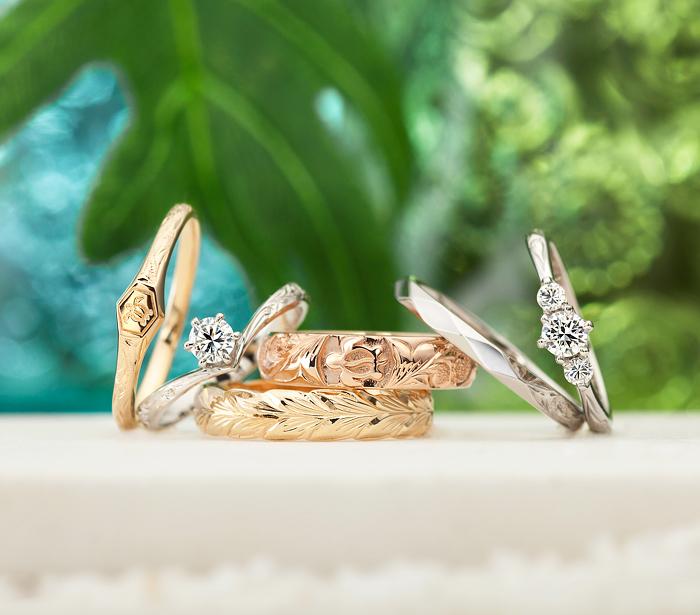 ハワイアンジュエリーの結婚指輪プライベートビーチ